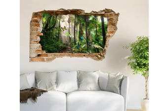 3D Rainforest Butterflies 376 Broken Wall Murals Standard Vinyl(Economical Use)