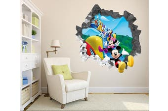 3D Happy Disney Mickey Minnie 28 Broken Wall Murals Heavy Duty Vinyl(Up To 5 Years)