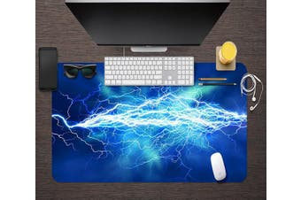 3D Blue Lightning 059 Desk Mat