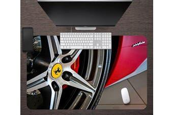 3D Car Wheel Red 151 Desk Mat, W90cmxH40cm(35''x18'')