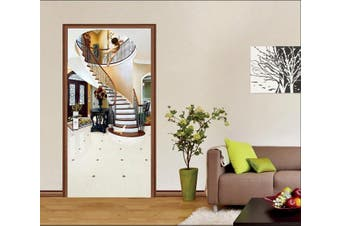 3D House Stairs Angel Bird 89 Door Mural Self-adhesive Vinyl