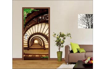 3D Buildings Stairway 86 Door Mural Woven paper (need glue)