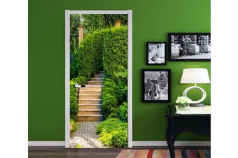 3D Stairs Green Plants 90 Door Mural Woven paper (need glue)