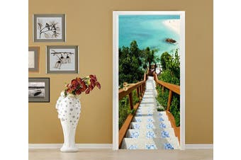 3D Beach Stairs 83 Door Mural Self-adhesive Vinyl
