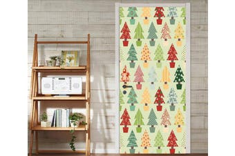 3D Christmas Xmas Lovely Trees 6 Door Mural Woven paper (need glue)