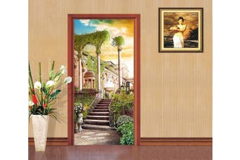 3D Palace Courtyard Stairs 84 Door Mural Woven paper (need glue)