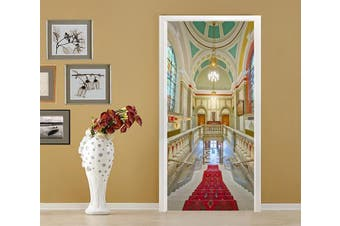 3D Pretty House Stairs 77 Door Mural Woven paper (need glue)