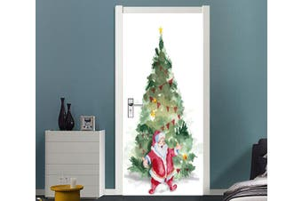 3D Christmas Xmas Tree Santa Claus 5 Door Mural Self-adhesive Vinyl