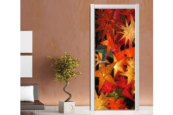 3D Christmas Xmas Bright Leaves 4 Door Mural Woven paper (need glue)