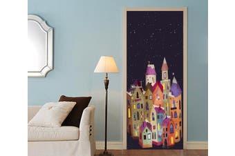 3D Christmas Xmas Town 3 Door Mural Self-adhesive Vinyl