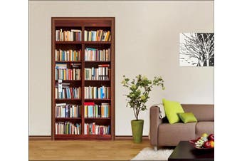 3D Bookcase Door Mural Woven paper (need glue), L 205cm x 77cm (HxW)(81''x30'')