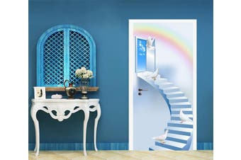 3D Sky Stairs Birds Rainbow 91 Door Mural Woven paper (need glue)
