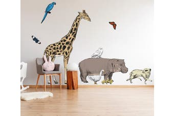 3D Giraffe Rhino 061 Animals Wall Stickers Self-adhesive Vinyl