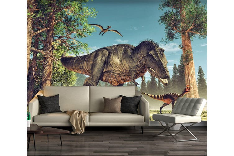 3D Forest Dinosaur 194 Self-adhesive Vinyl, XXL 312cm x 219cm (WxH)(123''x87'')