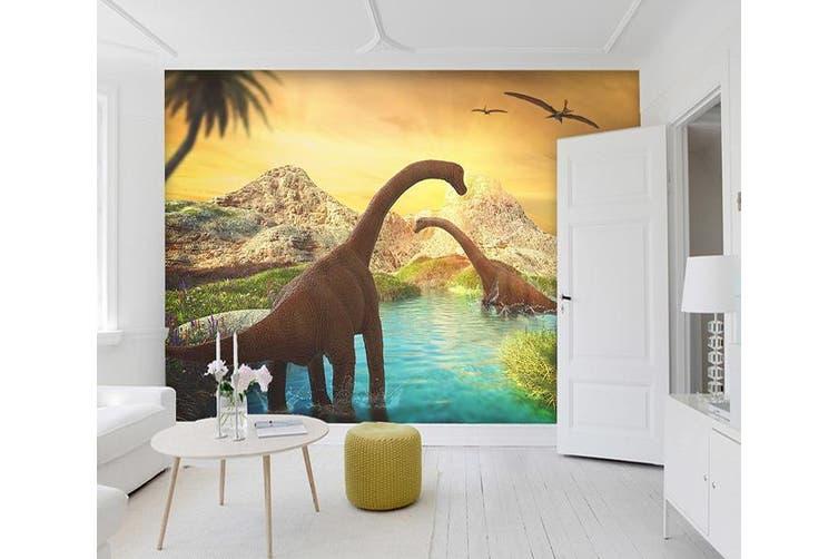 3D Dawn Lake Dinosaur 191 Woven paper (need glue), XL 208cm x 146cm (WxH)(82''x58'')