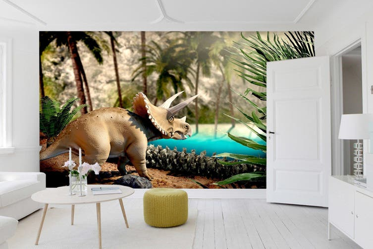 3D Green Grass Dinosaur 188 Woven paper (need glue), XL 208cm x 146cm (WxH)(82''x58'')