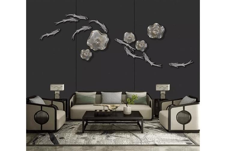3D Goldfish Black Background 1566 Woven paper (need glue), XXL 312cm x 219cm (WxH)(123''x87'')