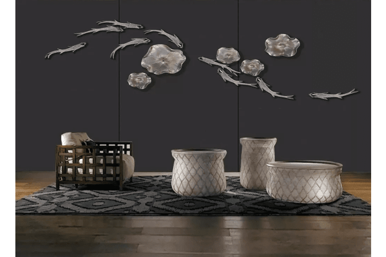 3D Goldfish Black Background 1566 Woven paper (need glue), XXXL 416cm x 254cm (WxH)(164''x100'')