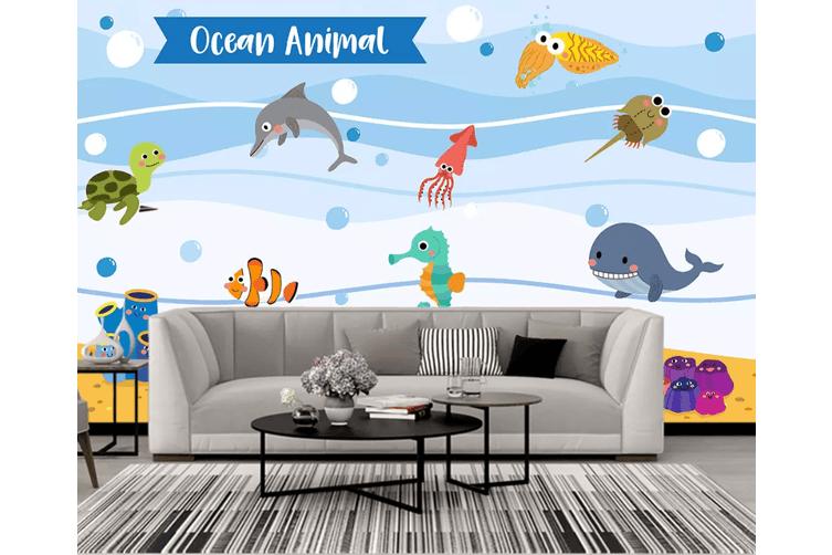 3D Seahorse Dolphins 1561 Woven paper (need glue), XL 208cm x 146cm (WxH)(82''x58'')