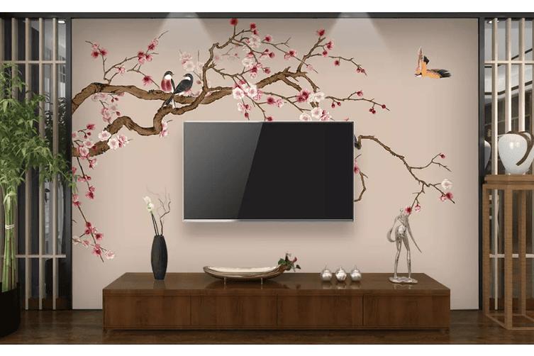 3D Plum Blossom Hand Drawn Bird 1558 Woven paper (need glue), XXL 312cm x 219cm (WxH)(123''x87'')