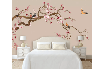 3D Plum Blossom Hand Drawn Bird 1558 Self-adhesive Vinyl, XL 208cm x 146cm (WxH)(82''x58'')