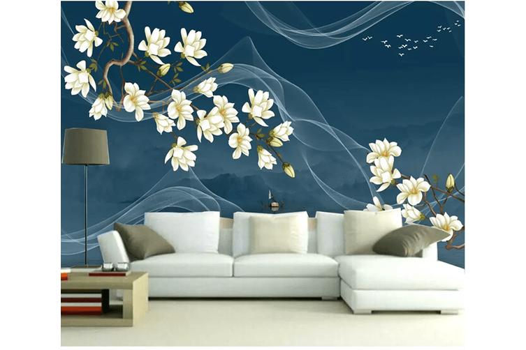 3D Flower Smoke 1556 Woven paper (need glue), XXXL 416cm x 254cm (WxH)(164''x100'')