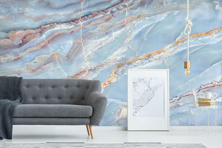 3D Light Blue Marbling 838 Wall Murals Wallpaper Murals Self-adhesive Vinyl, XL 208cm x 146cm (WxH)(82''x58'')