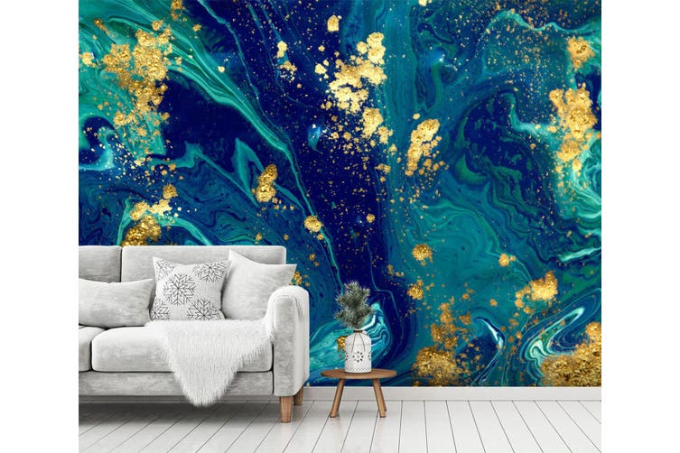 3D Blue Marbling Texture 045 Wall Murals Wallpaper Murals Self-adhesive Vinyl, XL 208cm x 146cm (WxH)(82''x58'')