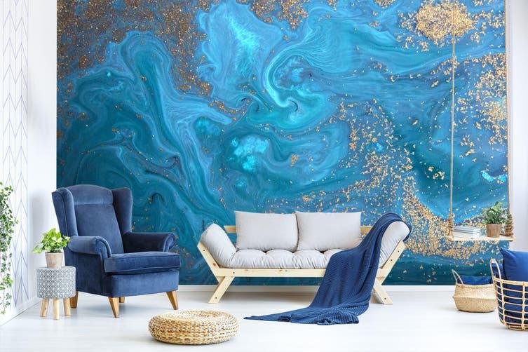 3D Blue Marbling Texture 035 Wall Murals Wallpaper Murals Woven paper (need glue), XL 208cm x 146cm (WxH)(82''x58'')