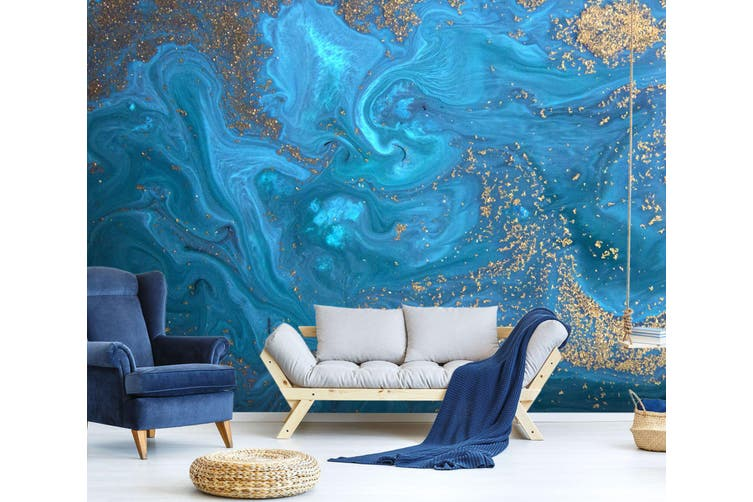 3D Blue Marbling Texture 035 Wall Murals Wallpaper Murals Self-adhesive Vinyl, XXL 312cm x 219cm (WxH)(123''x87'')