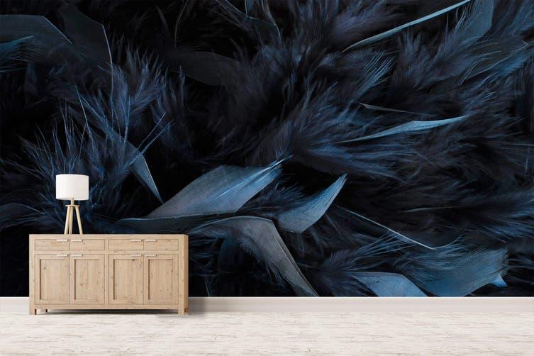 3D Dark Blue Feather 044 Wall Murals Wallpaper Murals Woven paper (need glue), XXL 312cm x 219cm (WxH)(123''x87'')