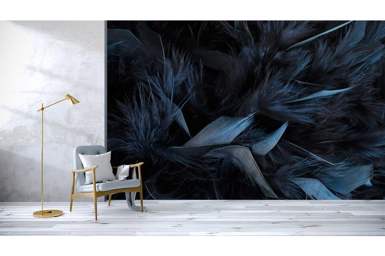 3D Dark Blue Feather 044 Wall Murals Wallpaper Murals Self-adhesive Vinyl, XXXL 416cm x 254cm (WxH)(164''x100'')