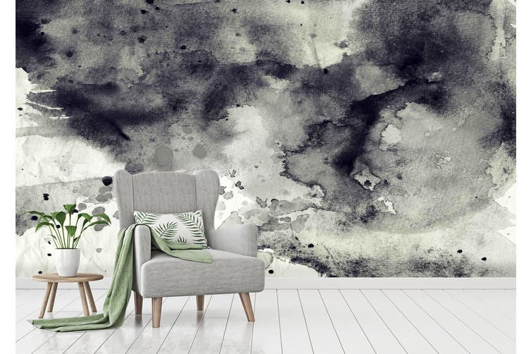 3D Black & White Ink 023 Wall Murals Wallpaper Murals Woven paper (need glue), XL 208cm x 146cm (WxH)(82''x58'')