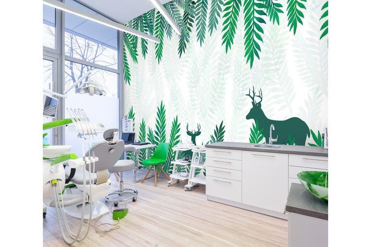 3D Leaf Deer Shadow 342 Wall Murals Wallpaper Murals Woven paper (need glue), XL 208cm x 146cm (WxH)(82''x58'')