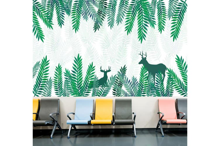 3D Leaf Deer Shadow 342 Wall Murals Wallpaper Murals Self-adhesive Vinyl, XXL 312cm x 219cm (WxH)(123''x87'')
