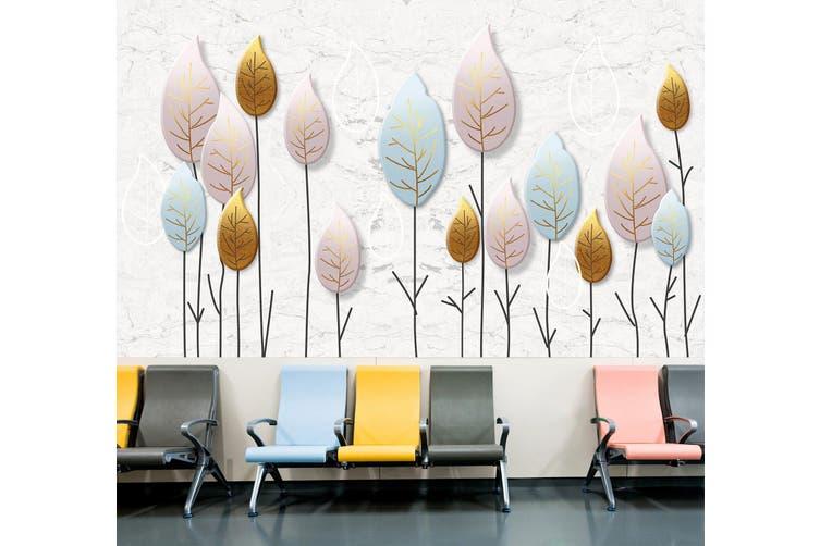 3D Colored Leaves 322 Wall Murals Wallpaper Murals Woven paper (need glue), XXXXL 520cm x 290cm (WxH)(205''x114'')