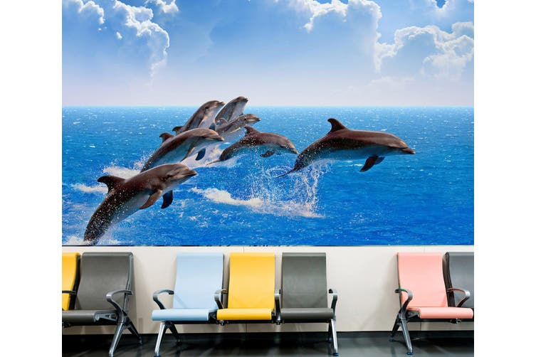 3D Beautiful Dolphin 314 Wall Murals Wallpaper Murals Self-adhesive Vinyl, XXL 312cm x 219cm (WxH)(123''x87'')