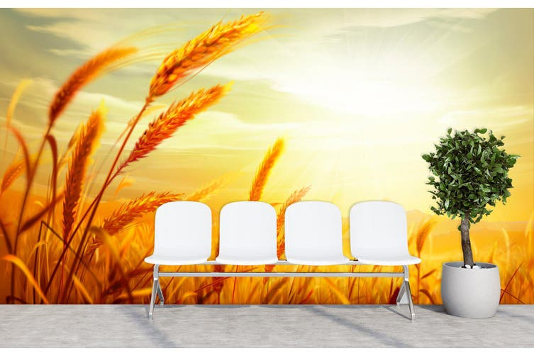 3D Sunset Wheat 303 Wall Murals Wallpaper Murals Self-adhesive Vinyl, XXXXL 520cm x 290cm (WxH)(205''x114'')