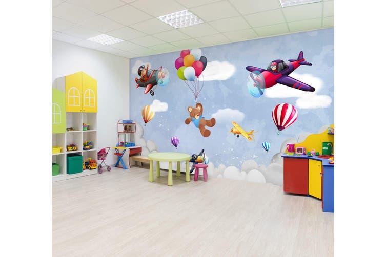 3D Balloon Airplane Bear 296 Wall Murals Wallpaper Murals Woven paper (need glue), XL 208cm x 146cm (WxH)(82''x58'')