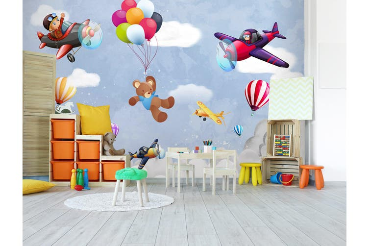 3D Balloon Airplane Bear 296 Wall Murals Wallpaper Murals Self-adhesive Vinyl, XXXL 416cm x 254cm (WxH)(164''x100'')