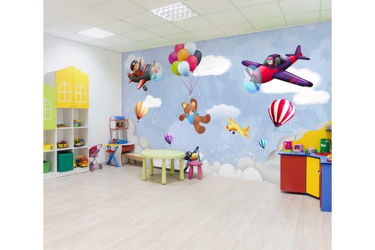 3D Balloon Airplane Bear 296 Wall Murals Wallpaper Murals Self-adhesive Vinyl, XXXXL 520cm x 290cm (WxH)(205''x114'')