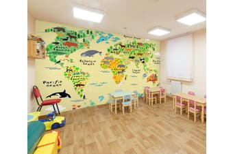3D Cartoon Animal Map 295 Wall Murals Wallpaper Murals Woven paper (need glue), XXXL 416cm x 254cm (WxH)(164''x100'')