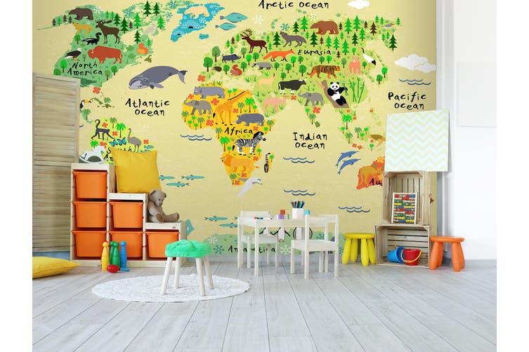 3D Cartoon Animal Map 295 Wall Murals Wallpaper Murals Self-adhesive Vinyl, XL 208cm x 146cm (WxH)(82''x58'')