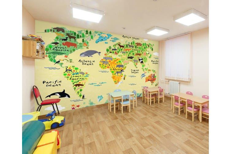 3D Cartoon Animal Map 295 Wall Murals Wallpaper Murals Self-adhesive Vinyl, XXL 312cm x 219cm (WxH)(123''x87'')