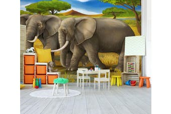 3D Steppe Elephant 293 Wall Murals Wallpaper Murals Self-adhesive Vinyl, XXL 312cm x 219cm (WxH)(123''x87'')