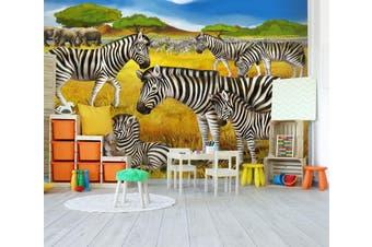 3D Grassland Zebra 292 Wall Murals Wallpaper Murals Woven paper (need glue), XL 208cm x 146cm (WxH)(82''x58'')
