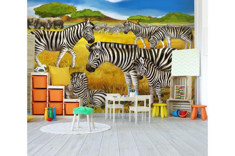 3D Grassland Zebra 292 Wall Murals Wallpaper Murals Woven paper (need glue), XXXXL 520cm x 290cm (WxH)(205''x114'')