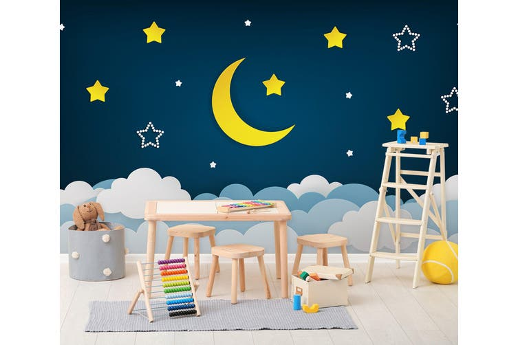 3D Moon Star Cloud 285 Wall Murals Wallpaper Murals Self-adhesive Vinyl, XL 208cm x 146cm (WxH)(82''x58'')