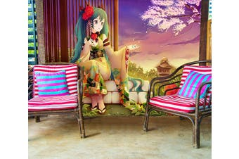 3D Hatsune Miku 756 Anime Wall Murals Woven paper (need glue), XXL 312cm x 219cm (WxH)(123''x87'')