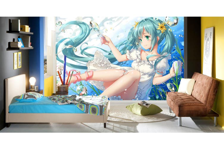 3D Hatsune Miku 760 Anime Wall Murals Self-adhesive Vinyl, XXL 312cm x 219cm (WxH)(123''x87'')